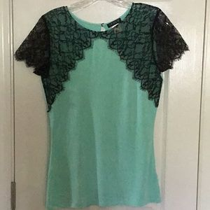 Mint green and black lace overlay Top